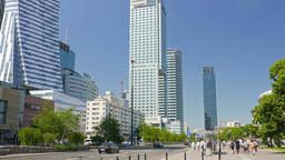 Warsaw, Poland. Street view and modern buildings in the city center Footage