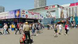 Warsaw, entrance to the subway. Shopping mall in the background Footage