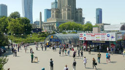 View on Warsaw and entrance to the subway (metro) station Footage