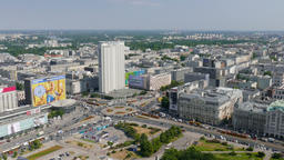 Warsaw, Poland. Aerial view. Real time Stock Video Footage
