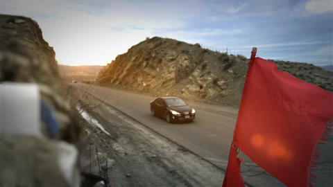 Red Flag On Mountain Route Live Action