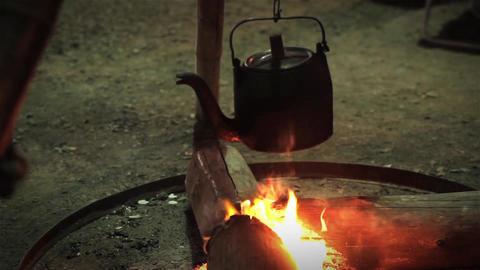 Kettle on a Bonfire Footage