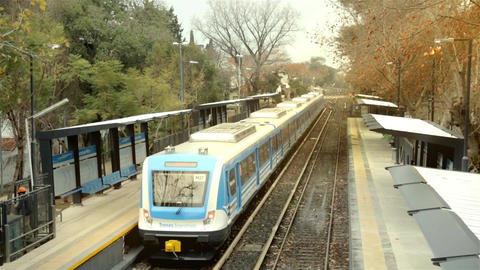 Train Departure In A Station Of Buenos Aires Footage