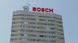 Skyscraper with BOSCH trademark. Warsaw, Poland Footage