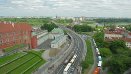 Warsaw, Poland. View on Busy Warsaw street and Vistula river. Timelapse Footage