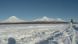 Sled dog race on background of Kamchatka volcanoes Footage