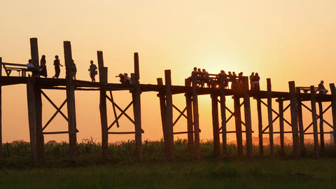 Amarapura Bridge Sunset People Time Lapse Animation