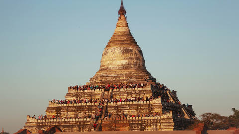 Bagan Temple Sunset People Time Lapse Animation