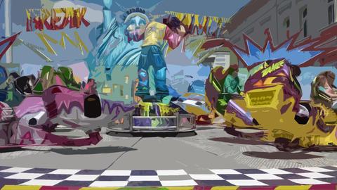 Carousel amusement carnival, retro style cutout filter Footage