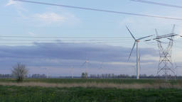 Wind turbines and power lines Footage