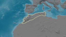 Zoom into Atlas mountain range - glowed. Elevation map Animation