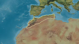 Zoom into Atlas mountain range - glowed. Topographic map Animation