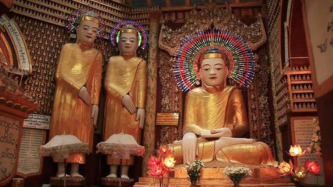 Myanmar Buddha Statues Temple Footage