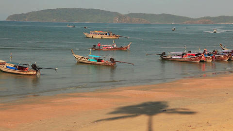 Phi Phi Beach Boats Footage
