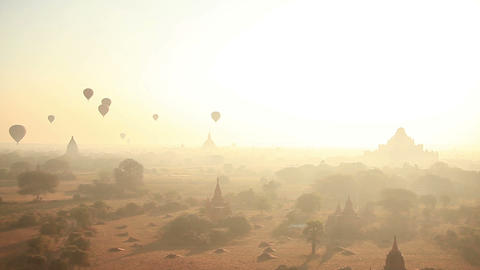 Bagan Baloons Time Lapse Sunrise Morning Animation