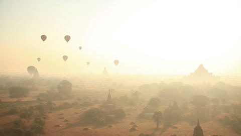 Bagan Baloons Time Lapse Sunrise Footage