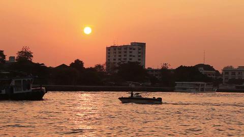 Bangkok Chao Praya Boats Sunset Footage
