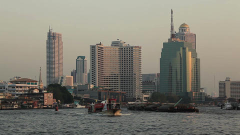 Bangkok Chao Praya Evening Footage