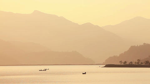Fishermen Boats Sunset Footage