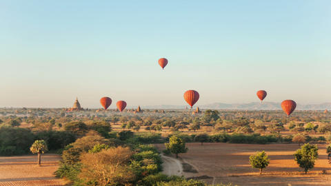 Air Ballons Bagan Temples Footage