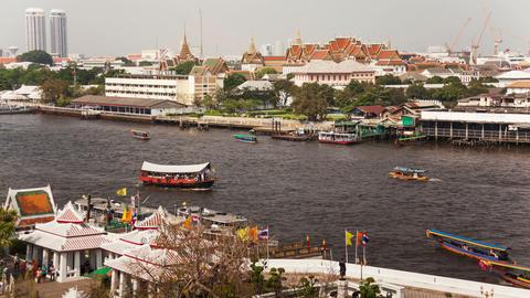 Chao Praya Boats Time Lapse Footage