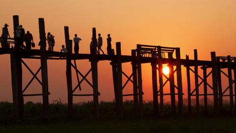 U Bein Sunset Time Lapse People Footage