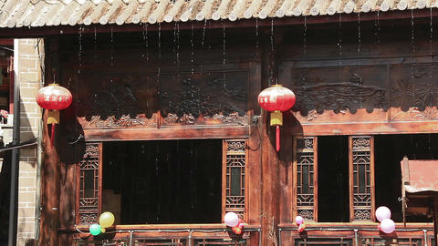 Chinese view with Chinese lamps in Lijiang, China Footage