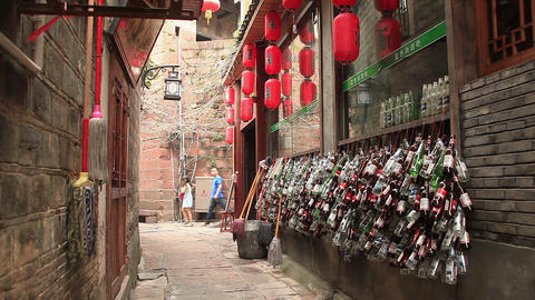 street in the historic center of Fenghuang city, China Live Action