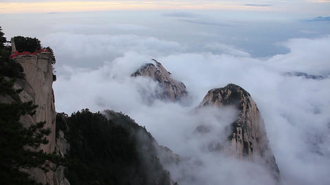 Time Lapse. Aerial view from the highest point of Huashan mountains in China Footage