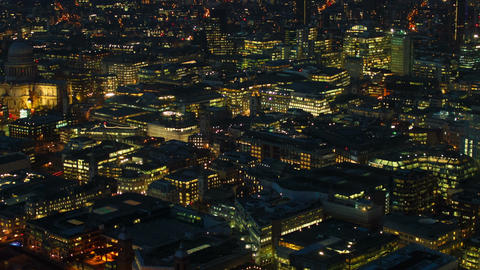 Aerial night view of Central London and St Pauls Cathedral Footage
