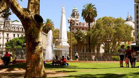 Plaza 25 de mayo in Buenos Aires, Argentina Stock Video Footage