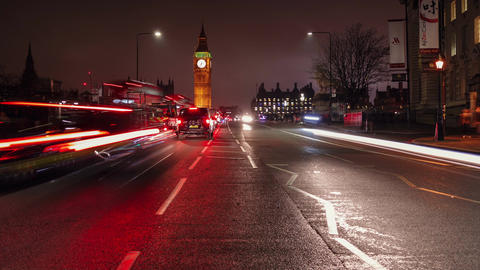 Traffic trail lights timelapse in Westminster, London, UK with Big Ben illuminat Live Action