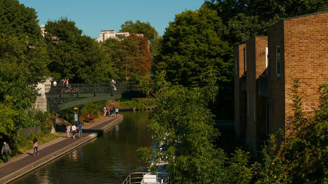 Panoramic view of the Grand Union Canal in West London on a sunny day Footage