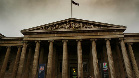 Wide angle gimbal shot showing the entrance of the British Museum in London, Eng Footage