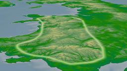 Glide over Cambrian mountain range - glowed. Colored physical map Animation