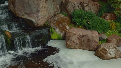 Closeup detail of a waterfall in a beautiful Japanese garden Footage