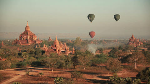 air balloons over the ancient Buddhist temples in Bagan, Myanmar Footage