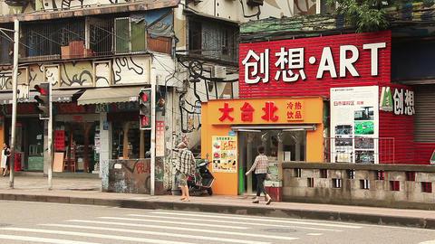 Huangjueping Graffiti Street in Chongqing, China Filmmaterial