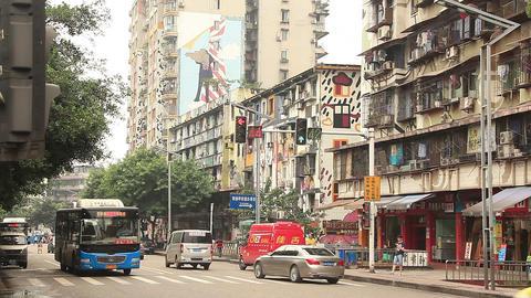 Huangjueping Graffiti Street in Chongqing, China Footage