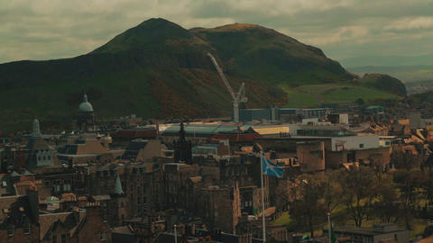 Medium telephoto shot of Holyrood Park and Arthurs Seat in Edinburgh, Scotland,  Footage