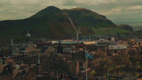 Medium telephoto shot of Holyrood Park and Arthurs Seat in Edinburgh, Scotland,  Footage