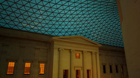 Gimbal shot of the Great Court of the British Museum... Stock Video Footage