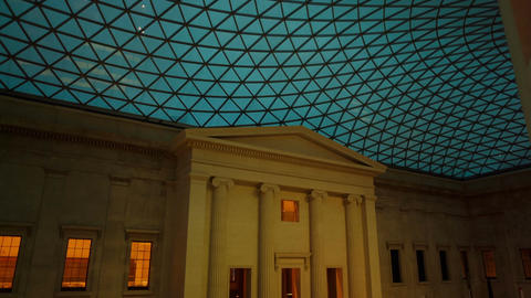Gimbal shot of the Great Court of the British Museum during evening time Footage