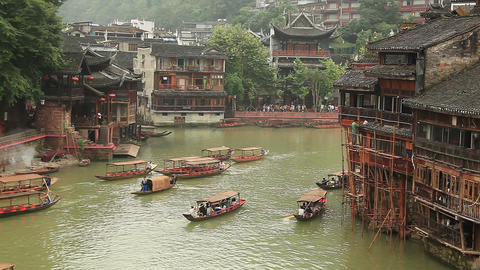 View of the historic center of Fenghuang city, China Footage