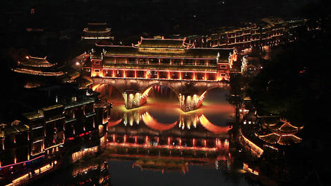 evening view of historic center of Fenghuang city,China Filmmaterial
