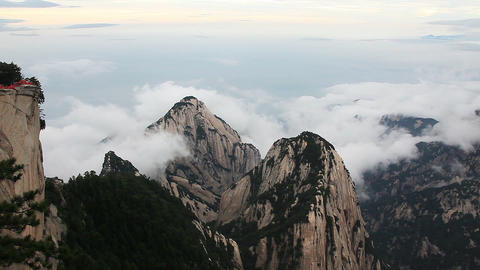 Time Lapse from the highest point of Huashan mountains in China Footage