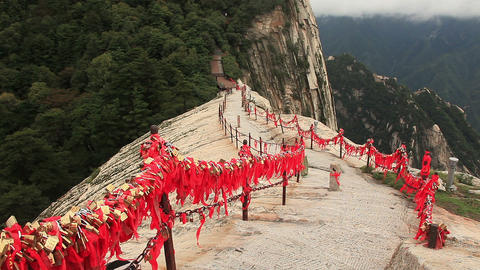 Way to the highest peak of Huashan mountains, China Footage