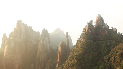Panorama of Mount Sanqingshan at sunrise. Mount Sanqingshan National Park, China Live Action