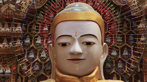 Buddha statues in Thandboddhay Paya temple Footage