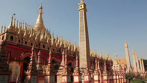 Thandboddhay Paya temple (temple of half of million Buddhas) in Monywa, Myanmar Footage
